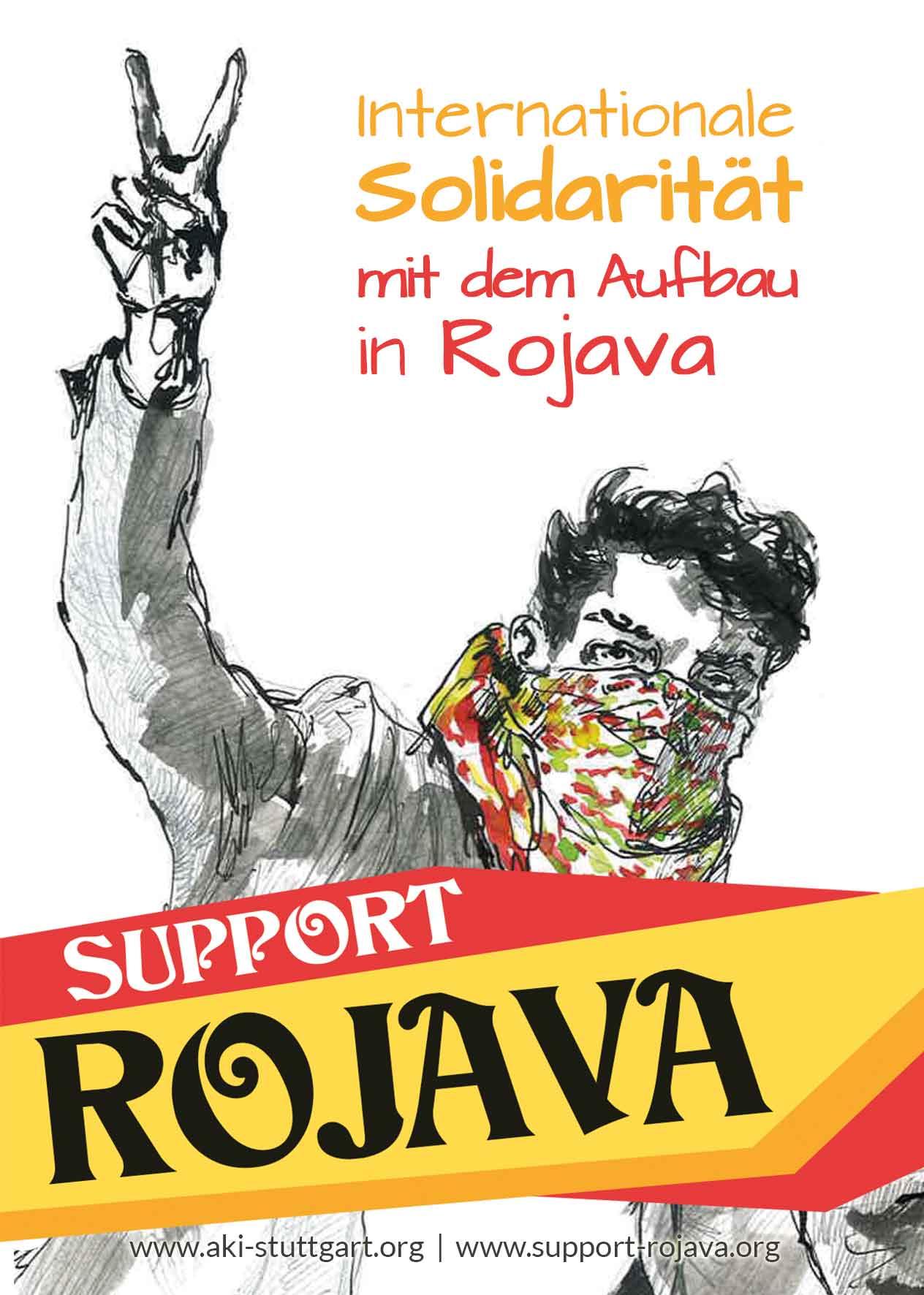 Wandzeitung und Aufkleber zu Rojava