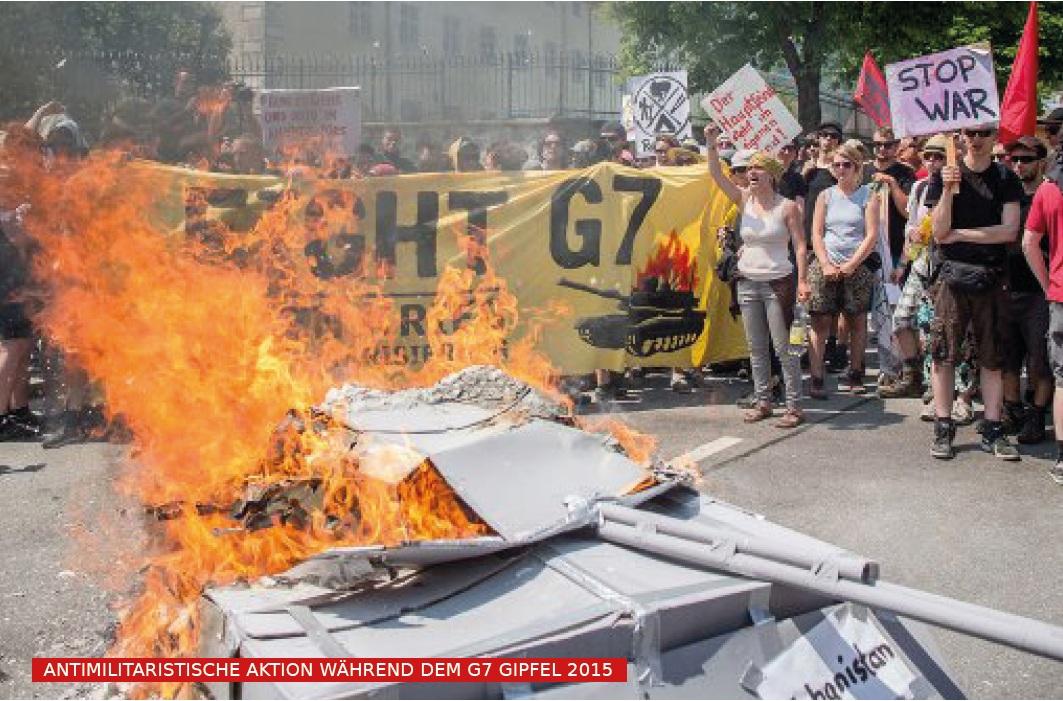 Antimilitaristische aktion beim g7 gipfel 2015